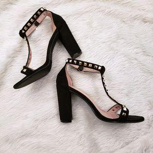 Shoes - Gold Studded Black Heels